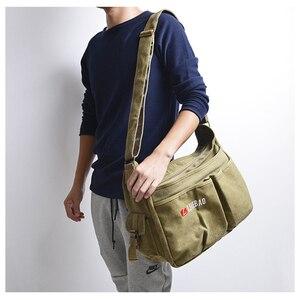 Image 5 - ZHIERNA Men Vintage Shoulder Bag Canvas Casual Messenger Bag Business Mochila Crossbody Bag Retro Man Sacoche business briefcase