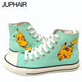 JUP Flat  Shoes Mens Males Boys Pikachu Rabbit Hand-painted ShoesCasual Flat Gift Footwear Comfortable Dames Schoenen Slip on