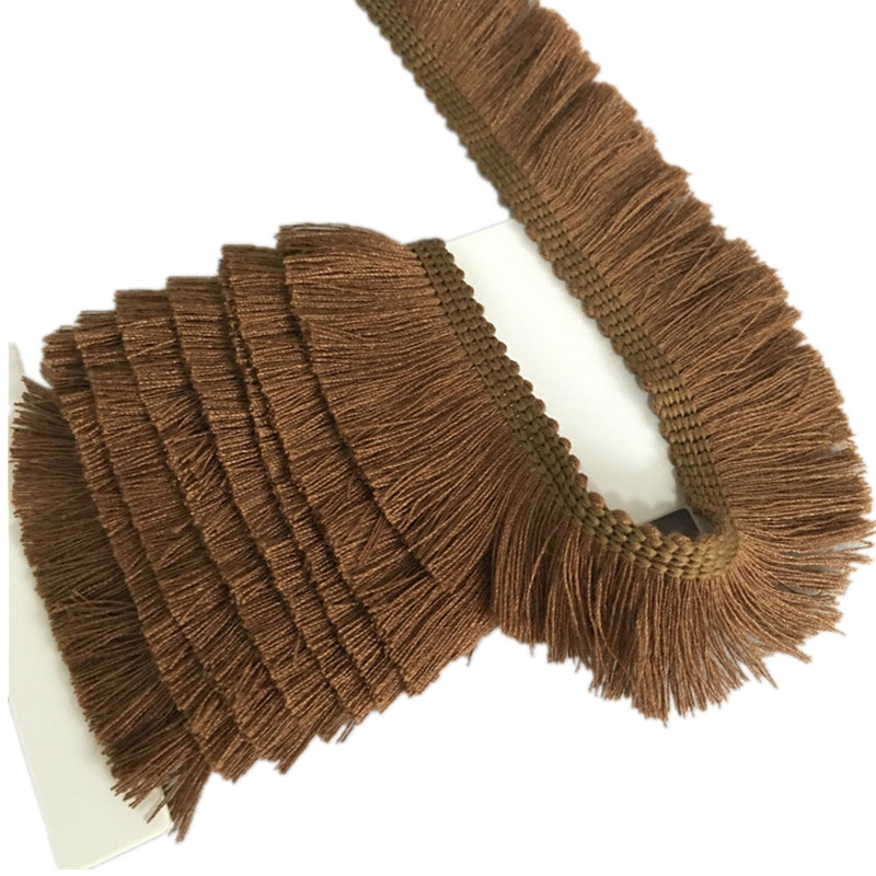 2 Yards Coffee Cotton Fringe Tassel Trim Thin Lace Sewing Decoration  7LS74-3