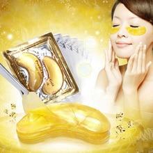 10pcs = 5packs Arany kollagén szem masku Bőrápolás szemhéjak Sötét körkörös szemtáskás öregedésgátló Anti-Puffiness hidratáló arcmasszázs