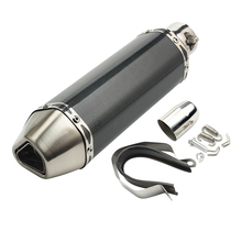 38-51mm Universal Motorcycle Carbon Fiber Exhaust Muffler Pipe Tail pipe AK Sticker With Removable DB Killer for Honda gy6 motorcycle 51mm universal exhaust muffler pipe escape carbon fiber titanium with moveable db killer