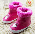 2015 Lovely Cartoon Hello Kitty Baby Shoes Snow Boots Newborn Winter Warm Shoes First Walkers