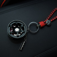 Upscale Luxury Metal Car Logo Wheel Keychain With Leather Rope 360 Rotate Disc Brake Keyring Sleutelhanger