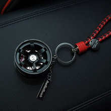 TOYIKIE Upscale Luxury Metal Car Wheel Keychain with Leather Rope 360 Rotate Disc Brake Keyring Sleutelhanger Llaveros Chaveiro
