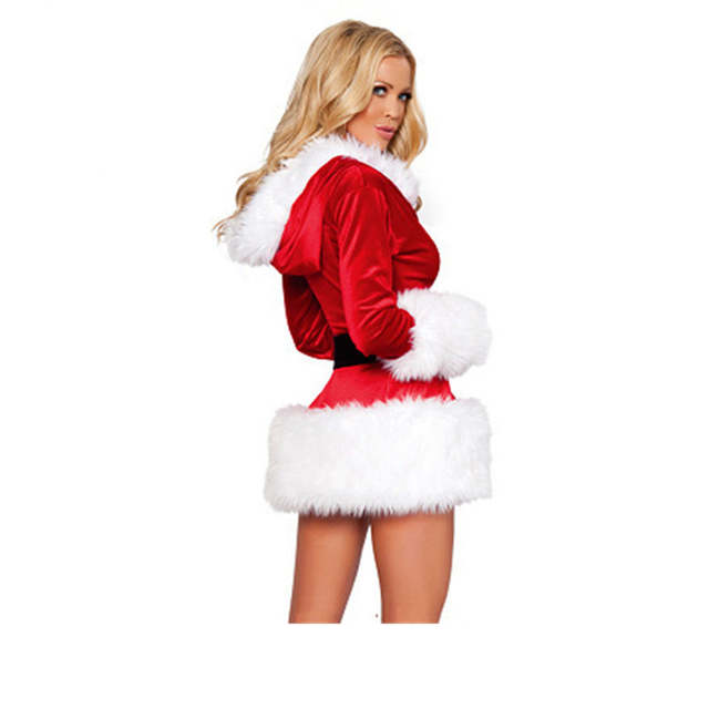 22cf170b61a placeholder Red Black Sexy Velvet Dress santa costumes Adult Mrs Claus  Santa Outfit for Women hooded belt
