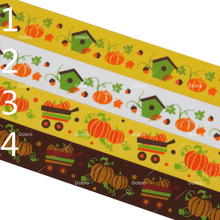 """1"""" 25mm 4 Seletions Pumpkins House Festival Printed Grosgrain Ribbons for Party Home Craft DIY Decorations 08"""