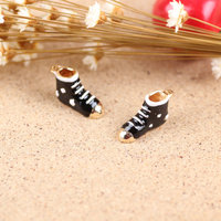 Gold Tone Plated Black Oil Drop Phone Chain Bow Decoration Charm 20*12mm Christmas Snow Boot Shape Diy Jewelry Bracelet Charms