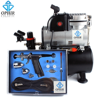 OPHIR 0.3mm,0.5mm,0.8mm Pro Spray Airbrush Kit with Air Tank Compressor for Body Tanning Wall Car Paint Airbrushing_AC116+AC069