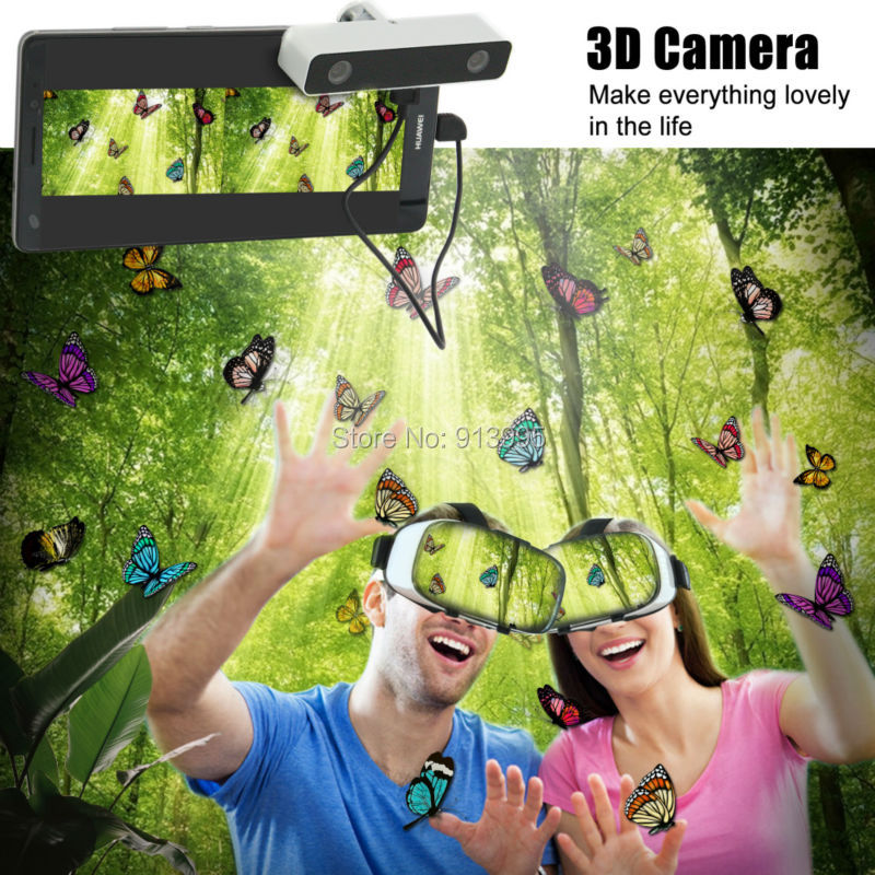 3D VR virtual reality glasses smartphone headset + 3D VR mini Wide Angle HD video Camera for Android samsung,htc,Xiaomi Huawei