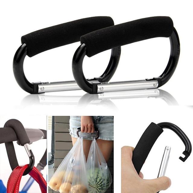 2pcs Black Stroller Pram Ping Bag Handbag Hook Dream Baby Metal Hanger Clip Carabiner Clips Buggy