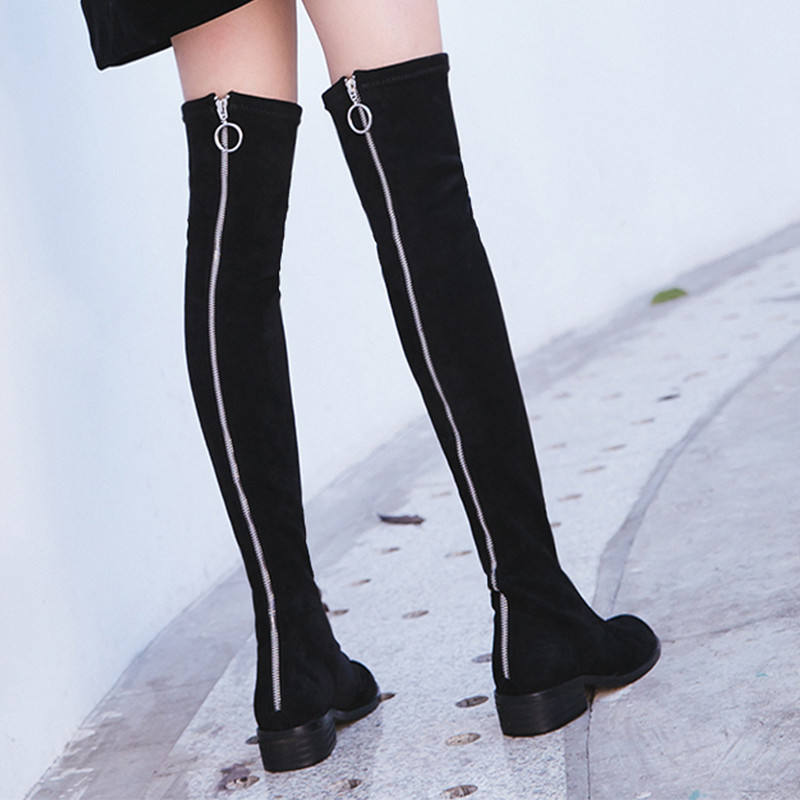 2019 Slim Leg Ladies Faux Suede Over the Knee Boots with Zipper Gray Winter Snow Boots