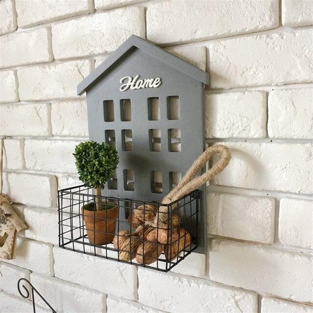 Cesta de metal Prateleira de Parede Casa De Madeira cabide Suporte de ferro Brinquedos Artesanato Cozinha caixa de Artigos Diversos de Rack Pendurado Decoração Da Parede Do Banheiro Prateleiras