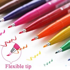 Image 2 - 12colors Japan Pentel Touch Brush Pen Set Color Calligraphy Pens Lettering Pennarelli Bullet Journal Supplies Felt Tip Sign Pens
