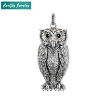 Elegant Champagne-coloured Zirconia Pave Big Owl Pendants Fit Necklaces Glam 925 Sterling Silver Jewelry Gift For Women Bijoux