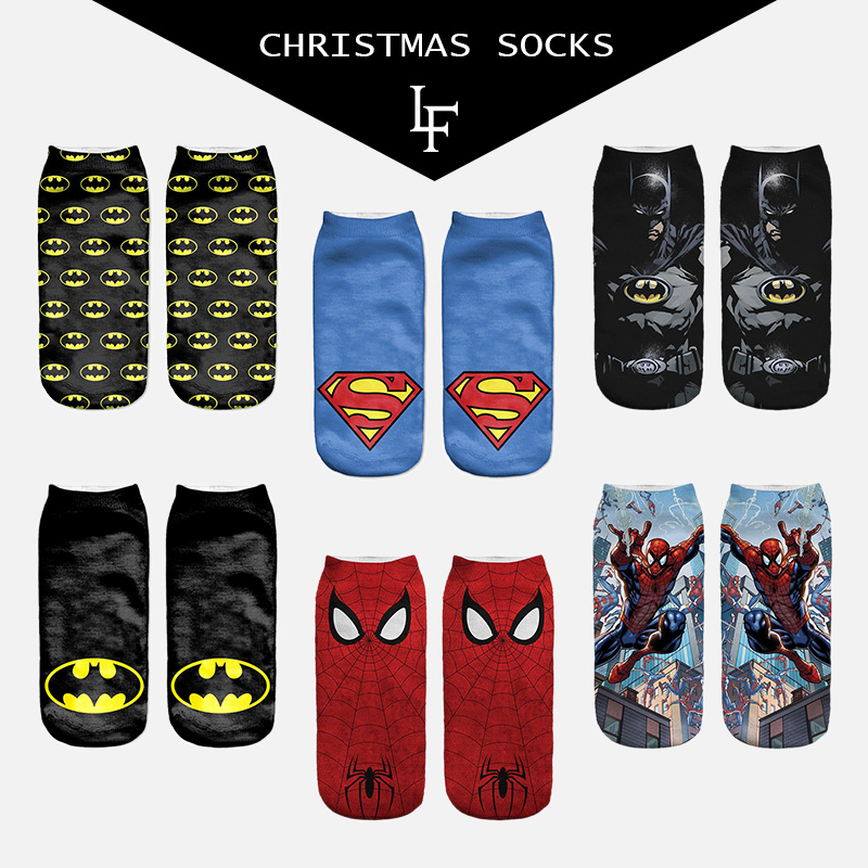 New Arrival Women Superhero   Socks   Print USA Classical Superman Spider Man Batman Iron Man   Sock   Cool Ankle Character Woman   Socks