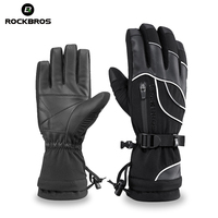 ROCKBROS Thermal Ski Gloves Waterproof Warmer Snowboard Gloves Snowmobile Motorcycle Windproof Sportswear Riding Cycling Glove