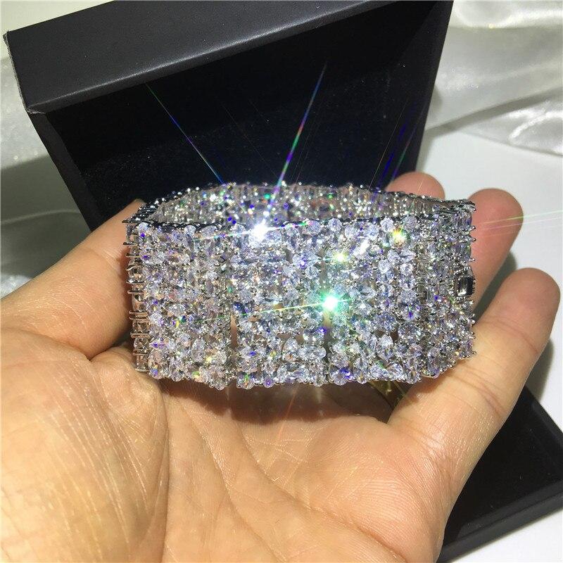 Роскошные браслеты choucong, белое золото, заполненный Mutil AAAAA cz, серебряный цвет, вечерние, свадебный браслет для женщин, свадебный подарок, шири... - 4