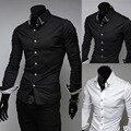 Nueva assassins creed Casual Camisas de Manga Larga Hombres Camisa Casual de Negocios de Slim Fit Camisa Masculina camisa Ropa Más blanco/negro
