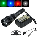 UniqueFire HS-802 Cree green/red/blue light led hunting flashlight torch with battery+charger+ remote switch+gun mount