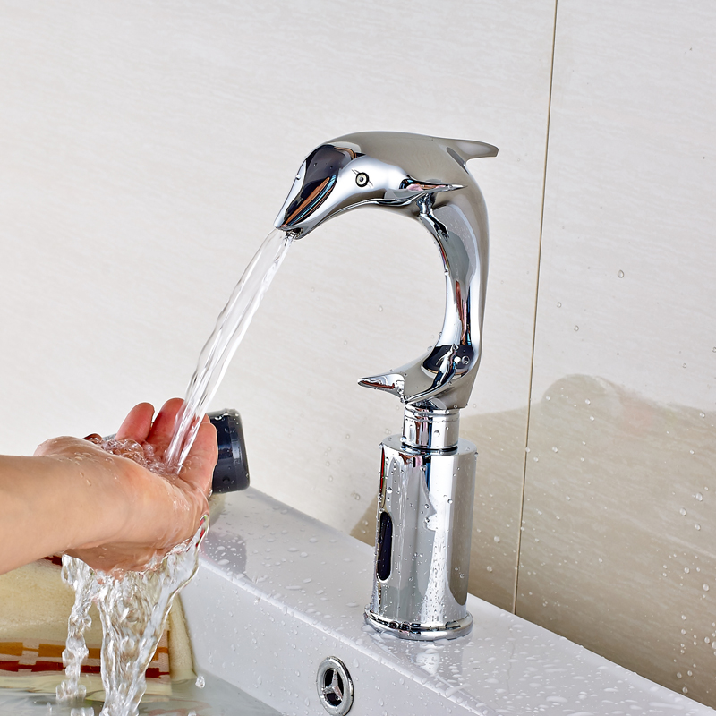 Dolphin Style Chrome Finished Hand Touch Automatic Sense Faucet Single Cold Water Bathroom Sink/Basin Mixer Tap micoe hot and cold water basin faucet mixer single handle single hole modern style chrome tap square multi function m hc203