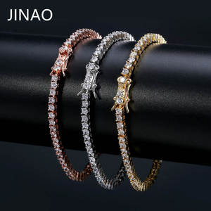 JINAO Stones Bracelet Box-Chain Micro-Pave Iced-Out Gold Bling Cubic-Zirconia All Men