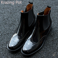 Fashion Genuine Leather Chelsea Boots Handmade Keep Warm Winter Boots Round Toe Thick Heels Concise Ankle