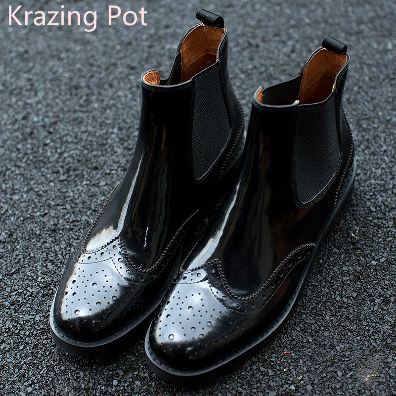 Fashion Genuine Leather Chelsea Boots Handmade Keep Warm Winter Boots Round Toe Thick Heels Concise Ankle Boots for Women L08 fashion genuine leather chelsea boots handmade keep warm winter boots round toe thick heels concise ankle boots for women l08