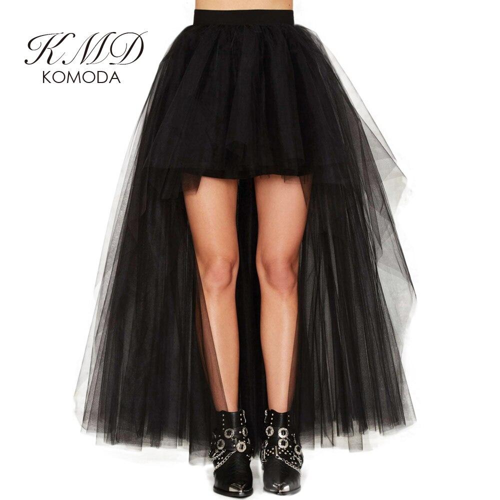 KMD KOMODA Black High Low A-line Skirt Women High Waist Casual Asymmetrical Skirts Elegant Sexy Party Skirts Ladies