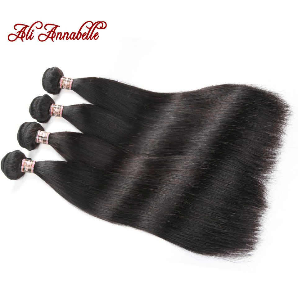 Pelo virgen Mongol de ALI Anabelle 100% paquetes de tejido de cabello humano 3/4 piezas extensión de tejido de cabello humano Color Natural