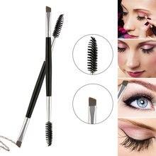 Escova de cílios e sobrancelhas chanfrada, escova de cabeça dupla para cílios, sobrancelha, cosméticos, ferramentas de beleza profissional, espiral, 1 peça