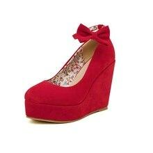 High heels rot braut hochzeit schuhe frauen mode sexy keile plattform pumpen  damen süße bogen schnalle 6e00e1da8a