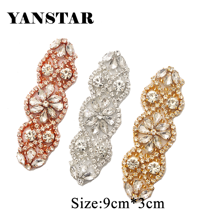 YANSTAR 10PCS Sewing On Rhinestones Appliques For Wedding Bridal Dress Belt Rose Gold Clear Crystal Bridal Accessories YS853