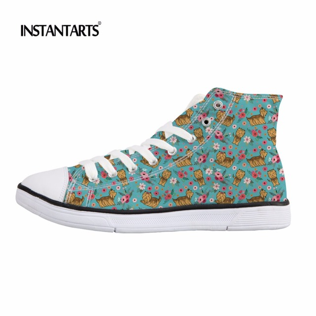 f496c4017512b US $27.99 20% OFF|INSTANTARTS Yorkshire Terrier Flower Printing High Top  Children Canvas Shoes Breathable Little Girls Sneakers Stylish Sport  Shoe-in ...