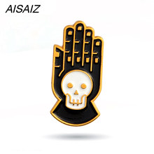 4 stili di Halloween New Acrilico Del Cranio A Mano CD Spille Spille Set Smalto Collare Distintivo Spille Homme Spille(China)