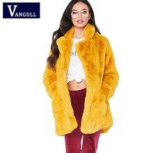 Женское зимнее пальто с мехом, Толстая теплая плюшевая длинная куртка, женская элегантная куртка с кроличьим мехом и карманом, модная Осенняя верхняя одежда VANGULL 2018