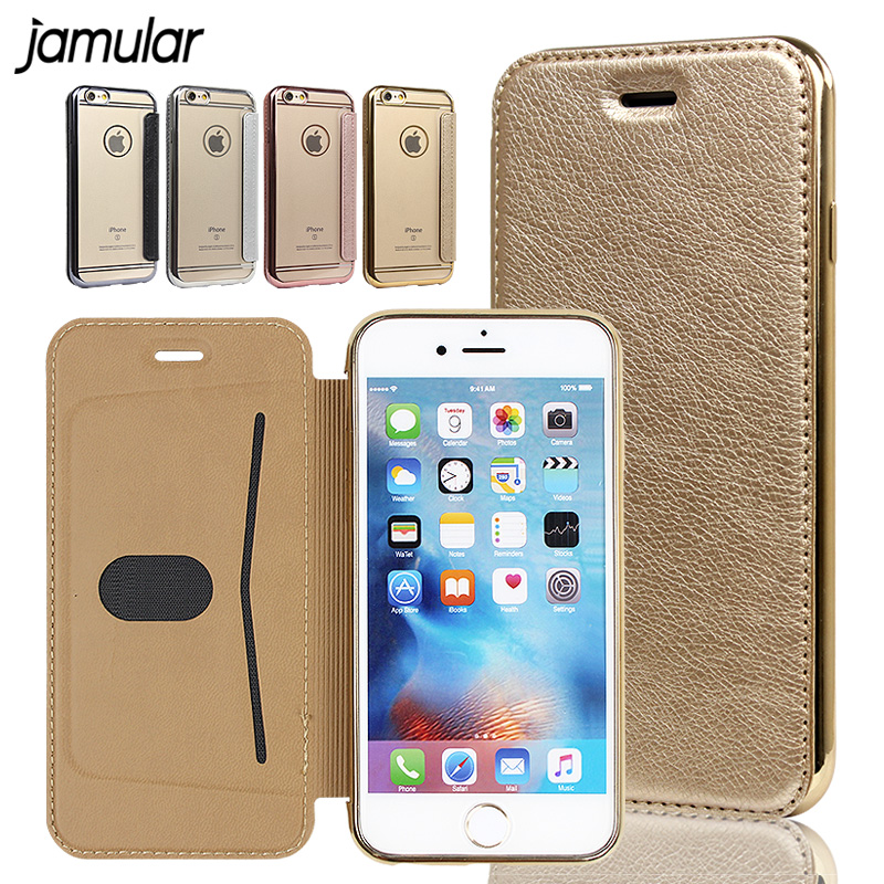 JAMULAR PU Leather Flip Phone Case For iPhone X 6s 6 Plus 5s SE Fundas Transparent Clear Back Cover For iPhone 7 8 Plus Cases ...