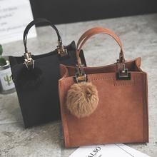 NEW HOT SALE handbag women casual tote bag female large shoulder messenger bags high quality Suede Leather handbag with fur ball