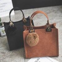 NUOVA VENDITA CALDA delle donne della borsa tote casuale sacchetto femminile grande sacchetti del messaggero della spalla di alta qualità borsa In Pelle Scamosciata con pelliccia palla