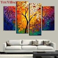 هاندبينتيد النفط اللوحة لوحة سكين لوحات غرفة المعيشة جدار خلاصة شجرة متعدد لوحة كبيرة قماش الفن رخيصة 4 أجزاء