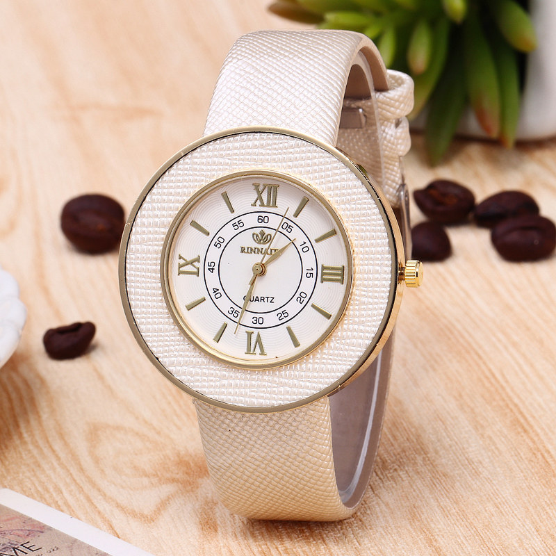 RINNADY Fashion Brand Roman Numerals Big Dial Watch Woman Beige Leather Ladies Wrist Watches For Women Montre Femme roman numerals dial artificial leather watch