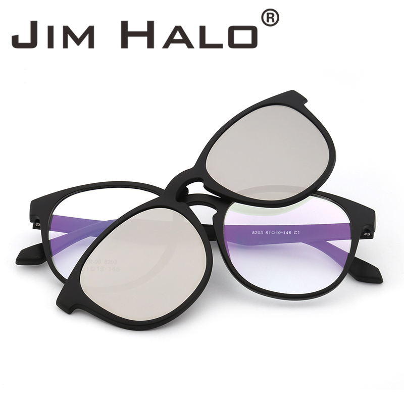 813f0efa28 Jim Halo Retro Round Polarized Magnetic Sunglasses Clip on Eyeglasses Frame Glasses  Men Women