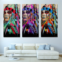 Paint By Number DIY American Feather Woman Number Painting for Dining Room Wall Decor Portrait Artwork Home Decor Drop Ship
