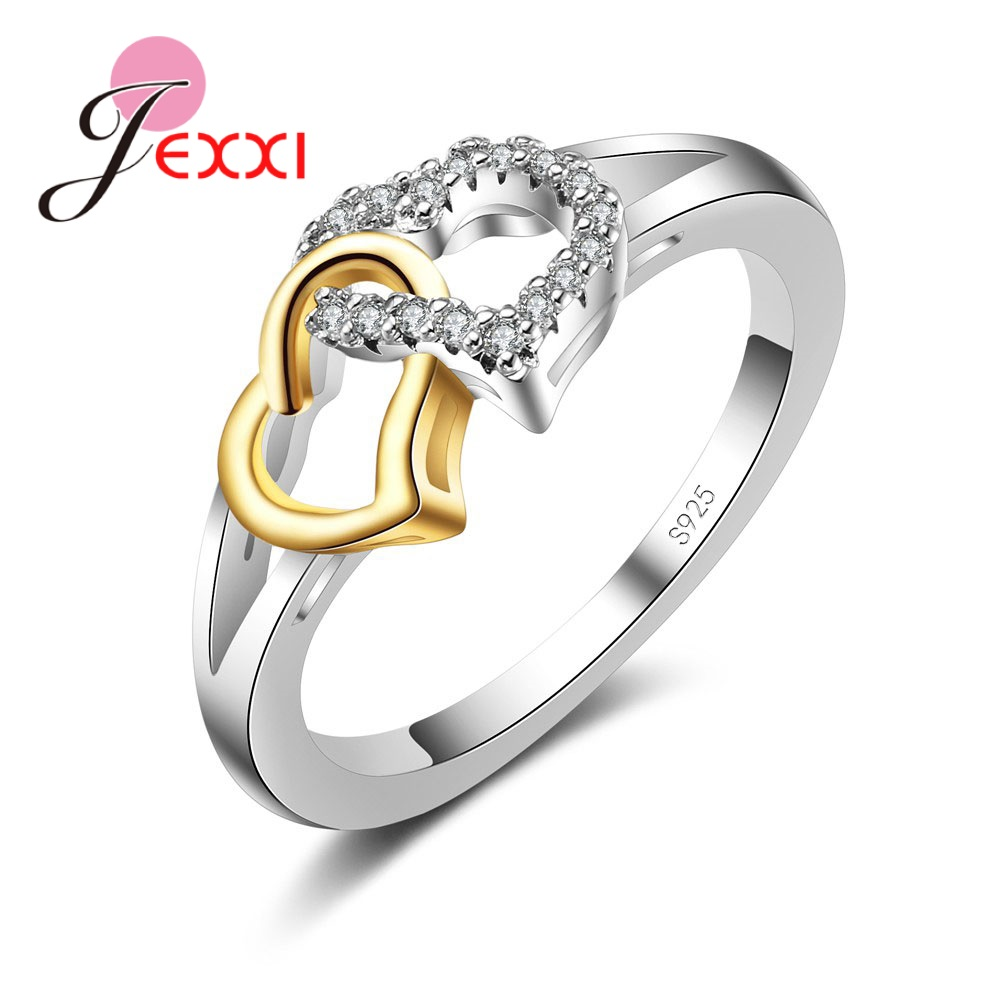 Female Heart With Heart Shaped Romantic Pure 925 Silver Rings With Cubic Zirconia Women Bridal Wedding Bague Bijoux