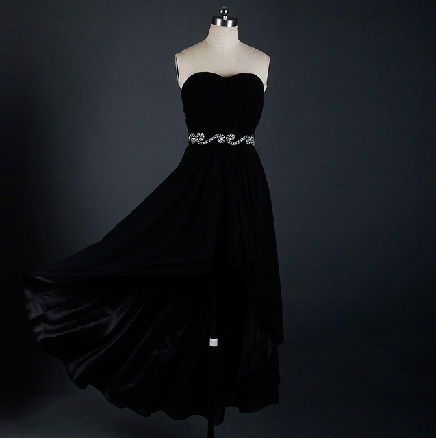 Rse622 Short Front Long Back Black Prom Dress For Teens In Prom