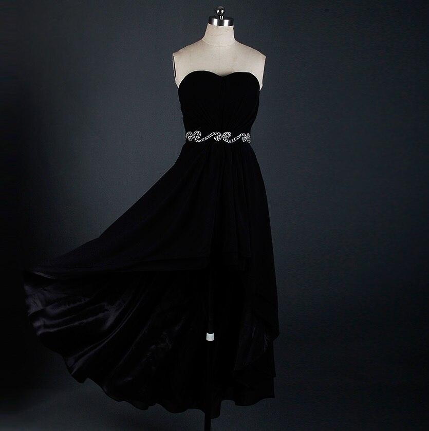 RSE622 robe de bal noire courte devant Long dos pour les adolescents