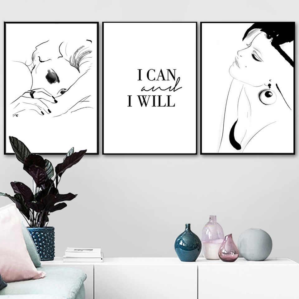 Moda chica pintura Estilo nórdico lienzo impresiones alfabeto puedo citas cartel pared arte decoración del hogar imágenes modulares