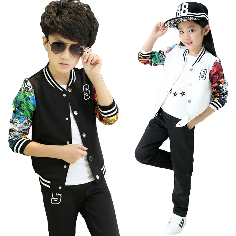Retail children's sportswear boys and girls spring and autumn suit uniforms children's sports suit jacket + pants 2 - 13 years 5