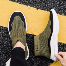 2019 Hot Sale New High Top Socks Sneakers Men Casual Shoes Knit Upper Breathable Krasovki Summer Stretch Male Walking Shoe