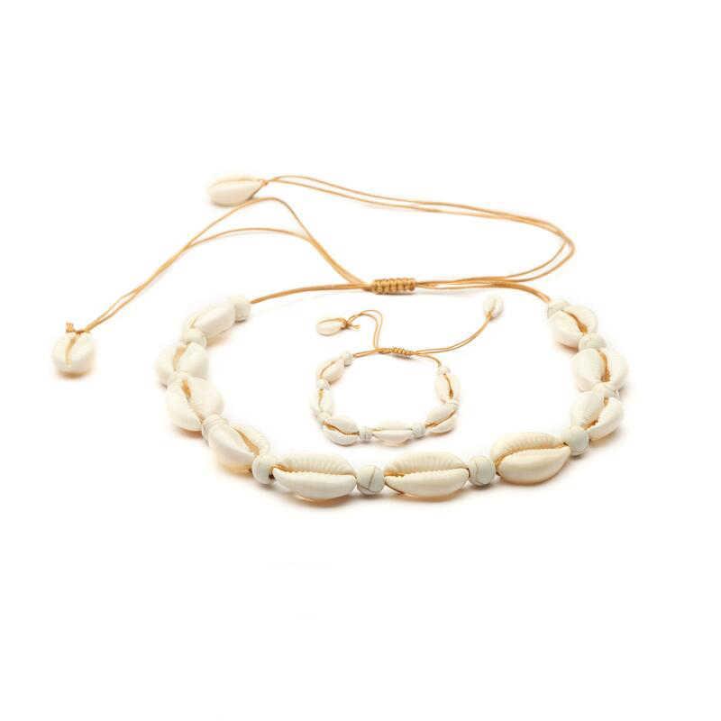 ファッションホットシェルネックレスブレスレットセット 4 種類のデザインゴールド/Silve の/ホワイト色と自然シェルチャーム手作りジュエリーセット