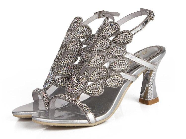 G-sparrow 2018 Summer Korean Rhinestone Slipper Silver Elegant Wedding Shoes Womens Crystal High Heel Sandals10